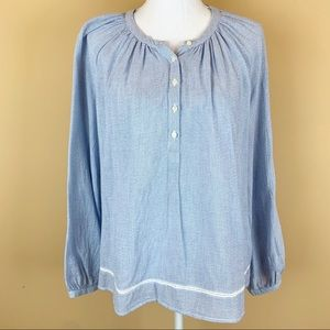 Lucky Brand striped peasant textured blouse top